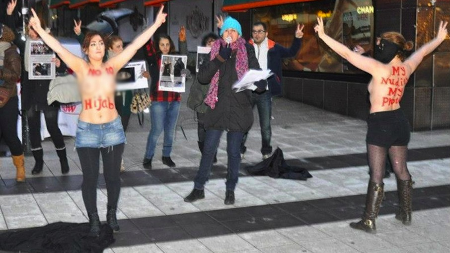 The FEMEN activists have become famous for organizing topless protests ...